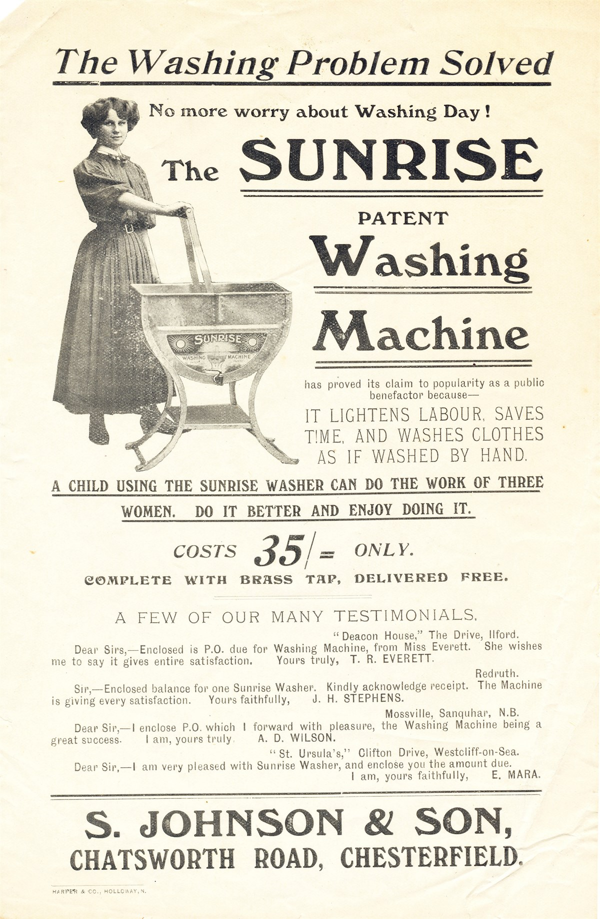 Advert For Sunrise Washing Machine