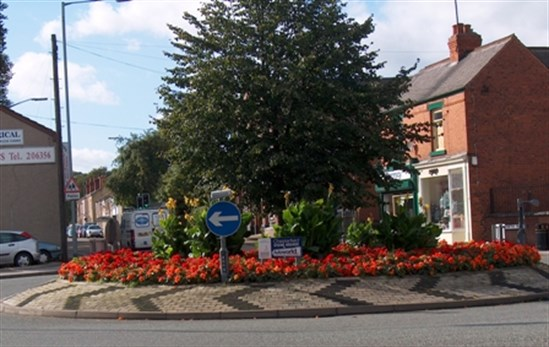 Chatsworth Road roundabout with tree at centre