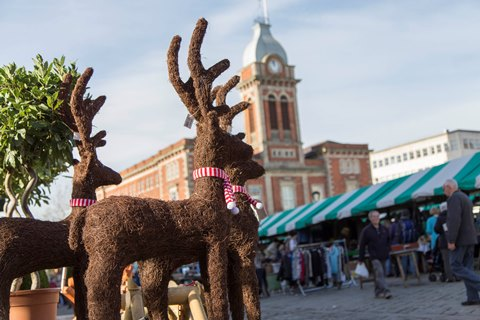 reindeer decoration on display at Chesterfield Market
