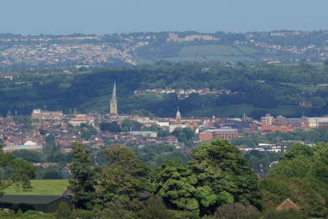 view of Chesterfield from nearby hill