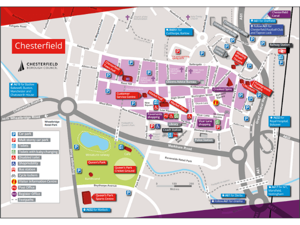 Chesterfield town centre map